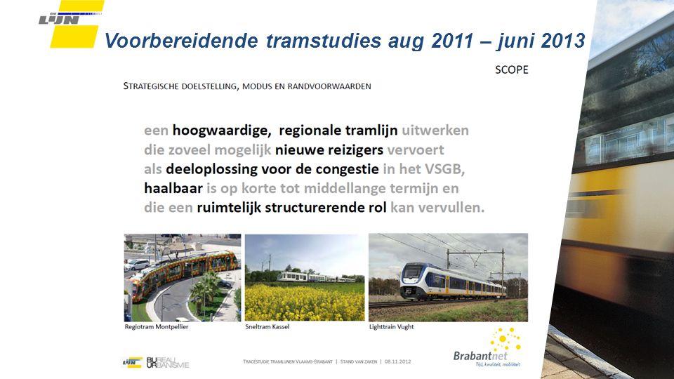 Voorbereidende tramstudies aug 2011 – juni 2013