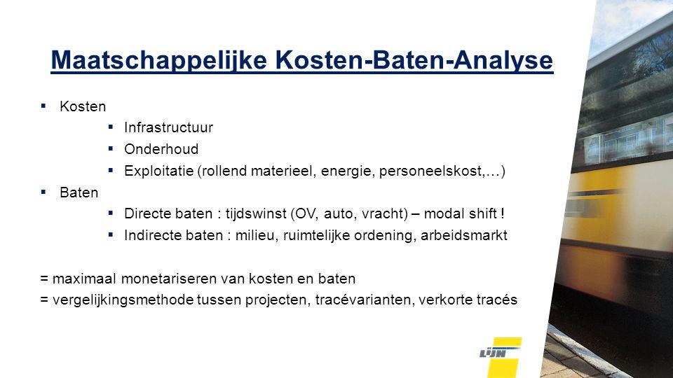 Maatschappelijke Kosten-Baten-Analyse  Kosten  Infrastructuur  Onderhoud  Exploitatie (rollend materieel, energie, personeelskost,…)  Baten  Directe baten : tijdswinst (OV, auto, vracht) – modal shift .