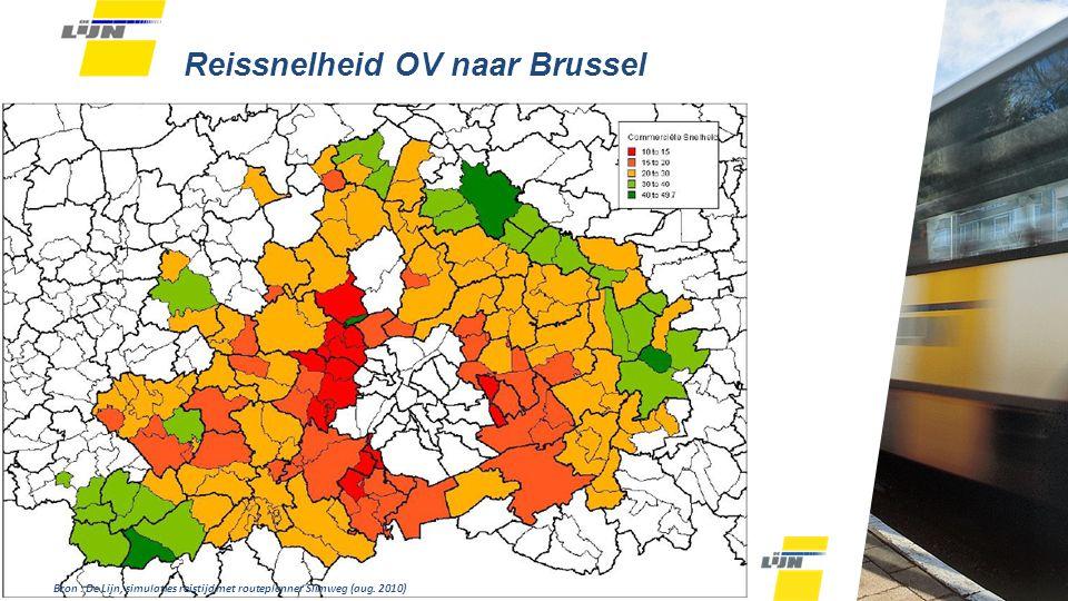 Reissnelheid OV naar Brussel Bron : De Lijn, simulaties reistijd met routeplanner Slimweg (aug.