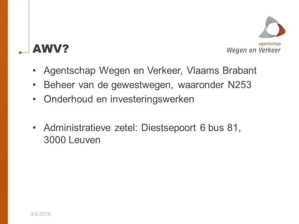 3-9-2014 AWV? Agentschap Wegen en Verkeer, Vlaams Brabant Beheer van de gewestwegen, waaronder N253 Onderhoud en investeringswerken Administratieve ze
