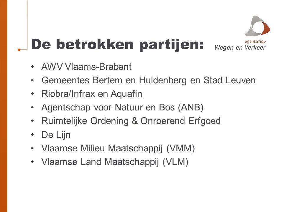 De betrokken partijen: AWV Vlaams-Brabant Gemeentes Bertem en Huldenberg en Stad Leuven Riobra/Infrax en Aquafin Agentschap voor Natuur en Bos (ANB) R