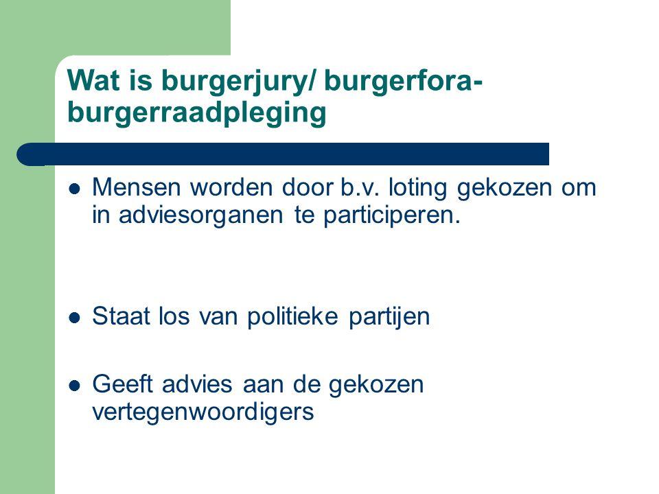 Wat is burgerjury/ burgerfora- burgerraadpleging Mensen worden door b.v. loting gekozen om in adviesorganen te participeren. Staat los van politieke p
