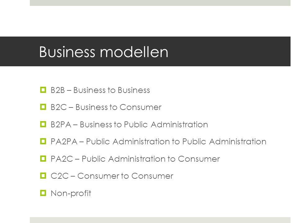 Business modellen  B2B – Business to Business  B2C – Business to Consumer  B2PA – Business to Public Administration  PA2PA – Public Administration