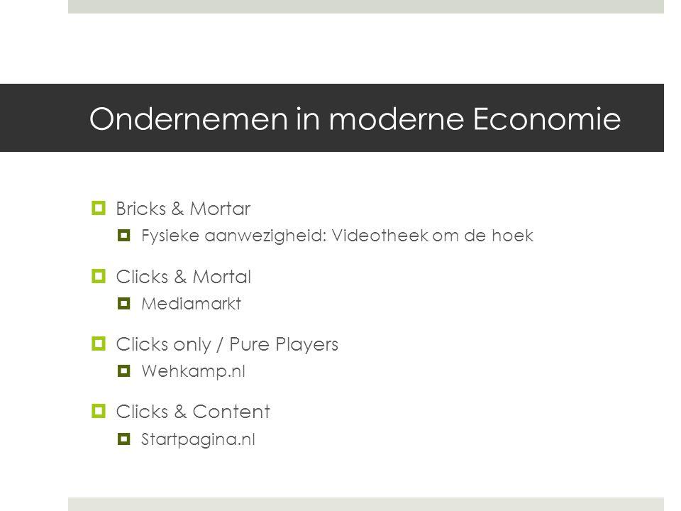 Ondernemen in moderne Economie  Bricks & Mortar  Fysieke aanwezigheid: Videotheek om de hoek  Clicks & Mortal  Mediamarkt  Clicks only / Pure Players  Wehkamp.nl  Clicks & Content  Startpagina.nl