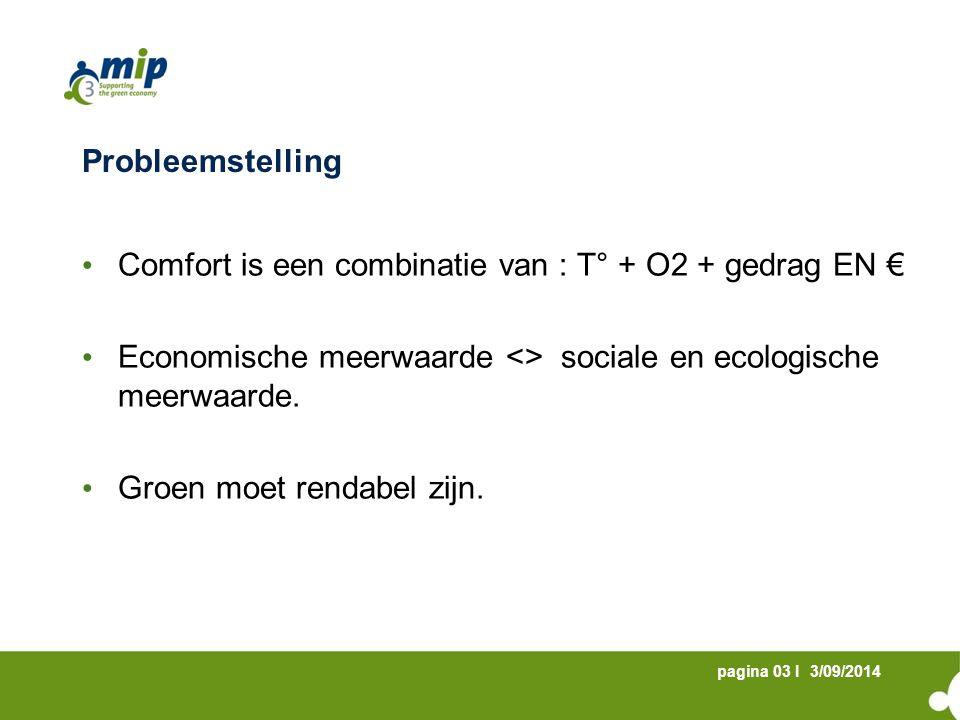 3/09/2014pagina 03 I Probleemstelling Comfort is een combinatie van : T° + O2 + gedrag EN € Economische meerwaarde <> sociale en ecologische meerwaarde.