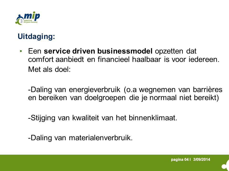 3/09/2014pagina 04 I Uitdaging: Een service driven businessmodel opzetten dat comfort aanbiedt en financieel haalbaar is voor iedereen.