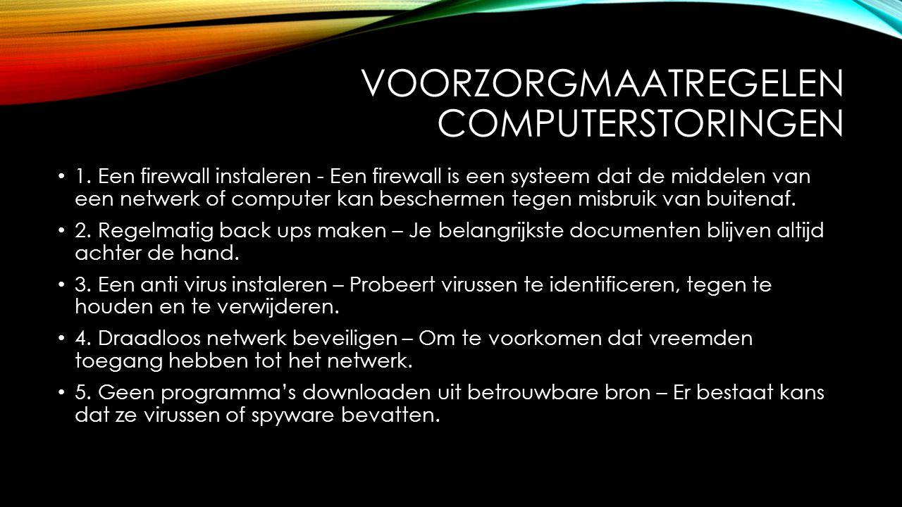 VOORZORGMAATREGELEN COMPUTERSTORINGEN 1.