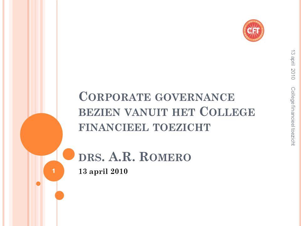 C ORPORATE GOVERNANCE BEZIEN VANUIT HET C OLLEGE FINANCIEEL TOEZICHT DRS.