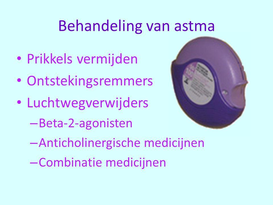 Prikkels vermijden Ontstekingsremmers Luchtwegverwijders – Beta-2-agonisten – Anticholinergische medicijnen – Combinatie medicijnen