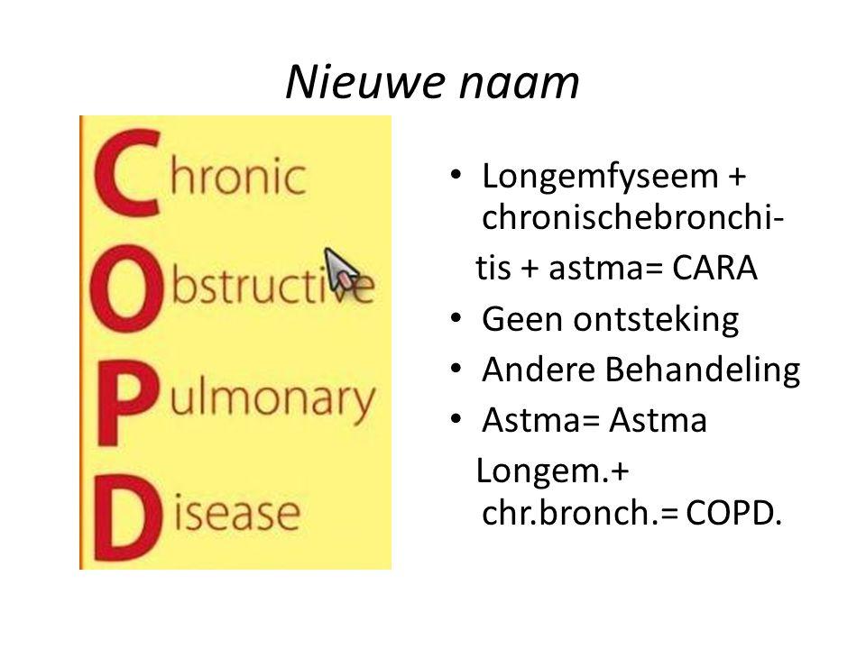 Nieuwe naam Longemfyseem + chronischebronchi- tis + astma= CARA Geen ontsteking Andere Behandeling Astma= Astma Longem.+ chr.bronch.= COPD.