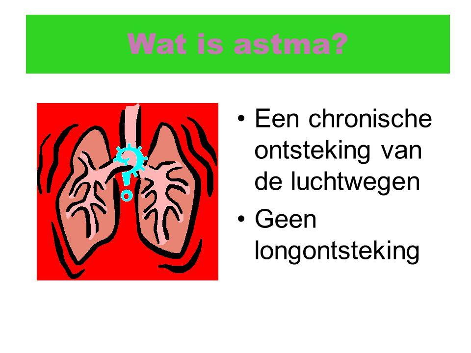Wat is astma? Een chronische ontsteking van de luchtwegen Geen longontsteking