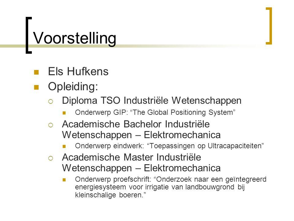 """Voorstelling Els Hufkens Opleiding:  Diploma TSO Industriële Wetenschappen Onderwerp GIP: """"The Global Positioning System""""  Academische Bachelor Indu"""