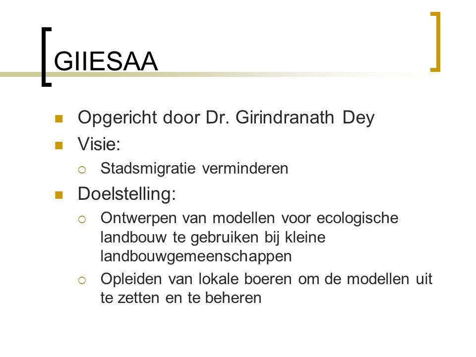 GIIESAA Opgericht door Dr. Girindranath Dey Visie:  Stadsmigratie verminderen Doelstelling:  Ontwerpen van modellen voor ecologische landbouw te geb