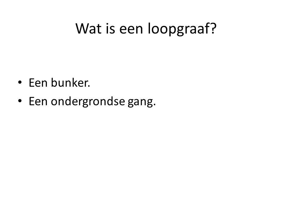 Wat is een loopgraaf? Een bunker. Een ondergrondse gang.