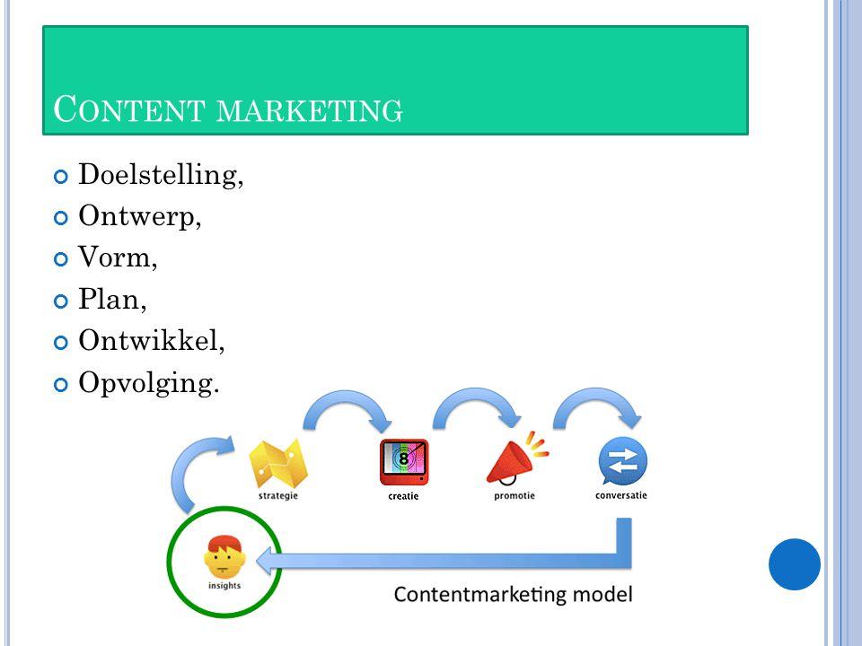 C ONTENT MARKETING Doelstelling, Ontwerp, Vorm, Plan, Ontwikkel, Opvolging.