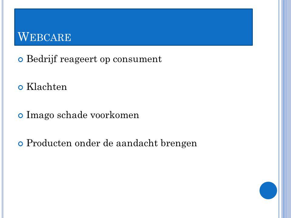 W EBCARE Bedrijf reageert op consument Klachten Imago schade voorkomen Producten onder de aandacht brengen