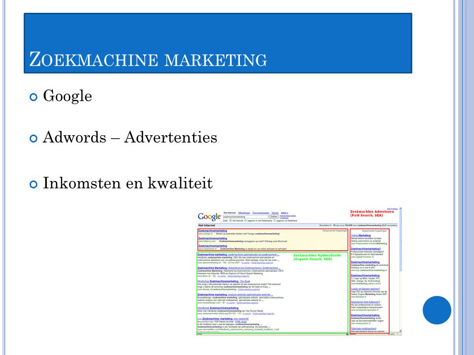 Z OEKMACHINE MARKETING Google Adwords – Advertenties Inkomsten en kwaliteit