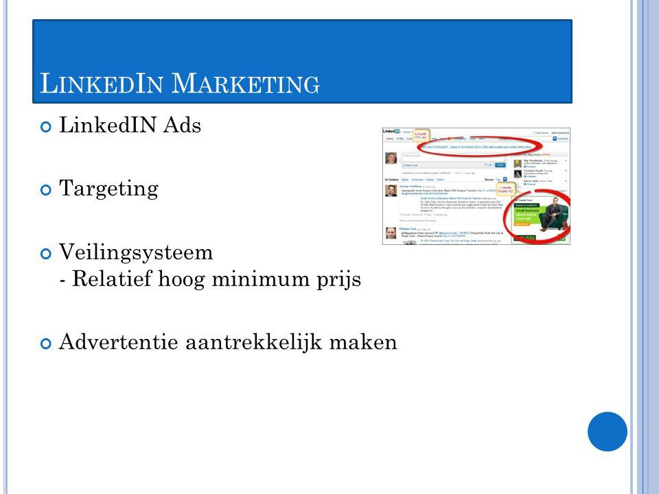 L INKED I N M ARKETING LinkedIN Ads Targeting Veilingsysteem - Relatief hoog minimum prijs Advertentie aantrekkelijk maken