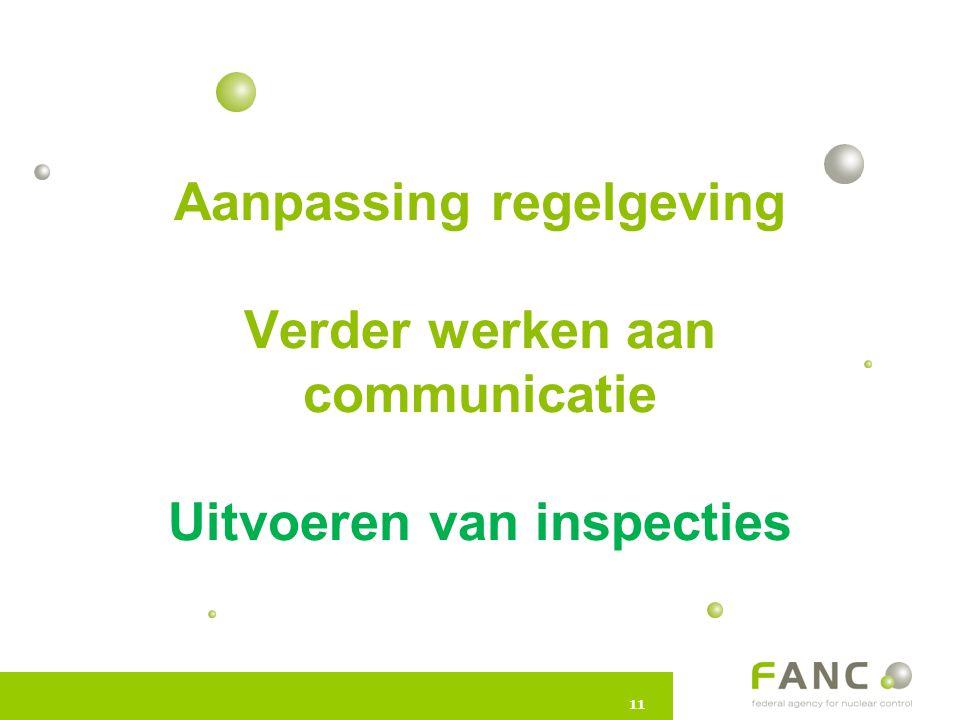 11 Aanpassing regelgeving Verder werken aan communicatie Uitvoeren van inspecties