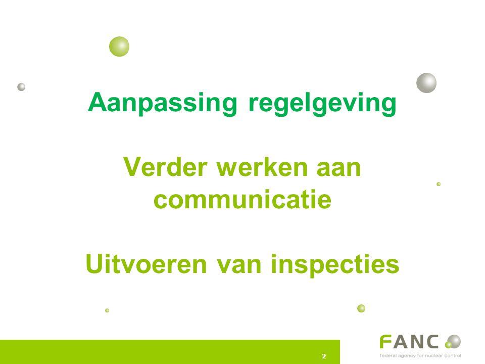 22 Aanpassing regelgeving Verder werken aan communicatie Uitvoeren van inspecties