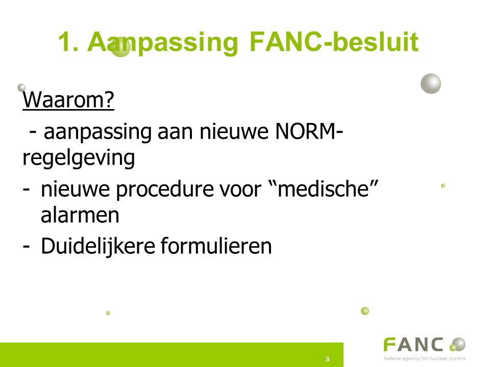 33 1. Aanpassing FANC-besluit Waarom.
