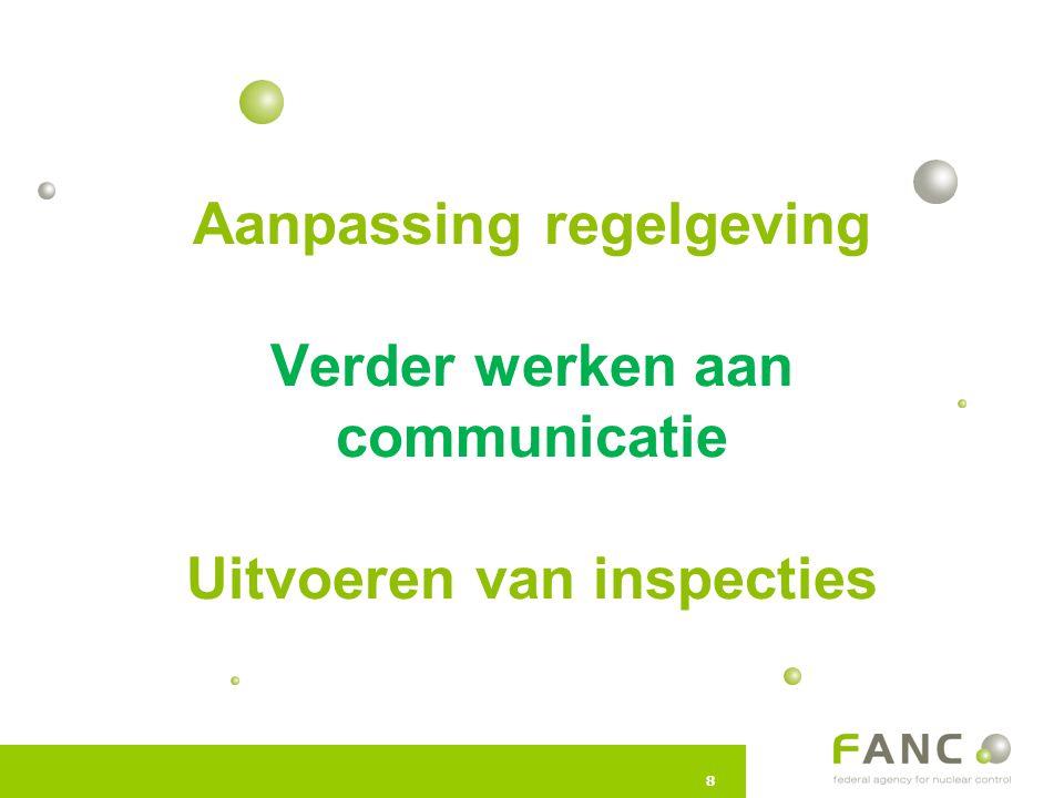 88 Aanpassing regelgeving Verder werken aan communicatie Uitvoeren van inspecties