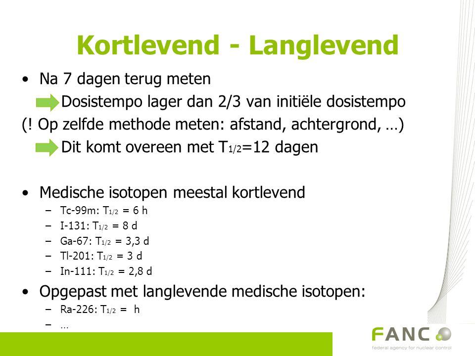 Kortlevend - Langlevend Na 7 dagen terug meten Dosistempo lager dan 2/3 van initiële dosistempo (! Op zelfde methode meten: afstand, achtergrond, …) D
