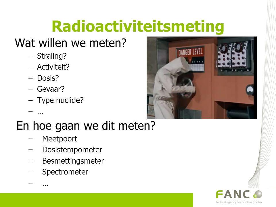 Radioactiviteitsmeting Wat willen we meten? –Straling? –Activiteit? –Dosis? –Gevaar? –Type nuclide? –… En hoe gaan we dit meten? –Meetpoort –Dosistemp