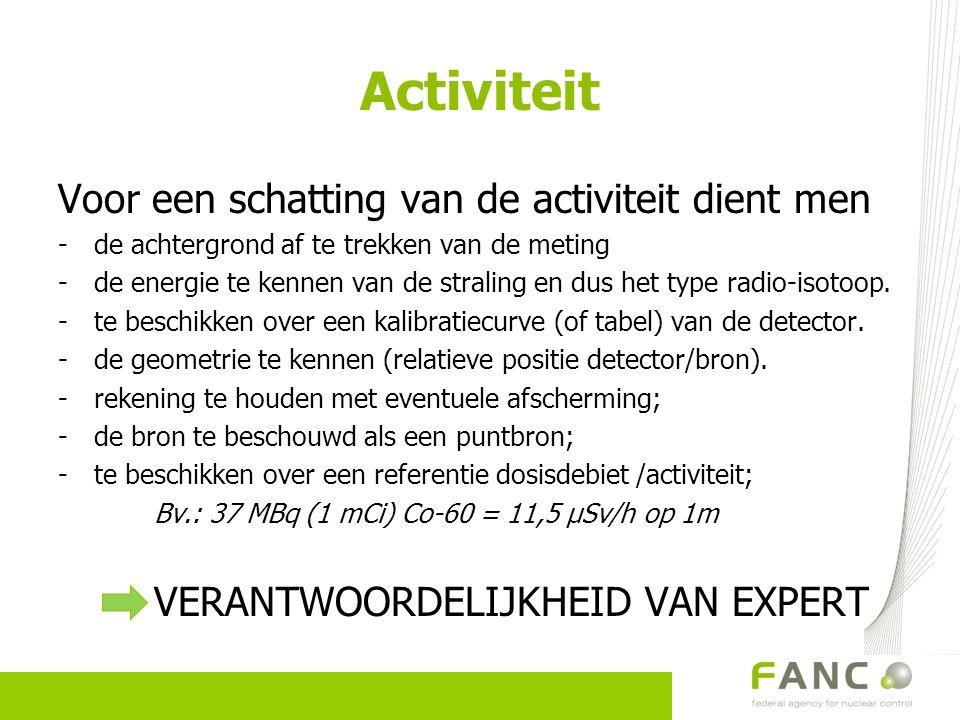 Activiteit Voor een schatting van de activiteit dient men -de achtergrond af te trekken van de meting -de energie te kennen van de straling en dus het