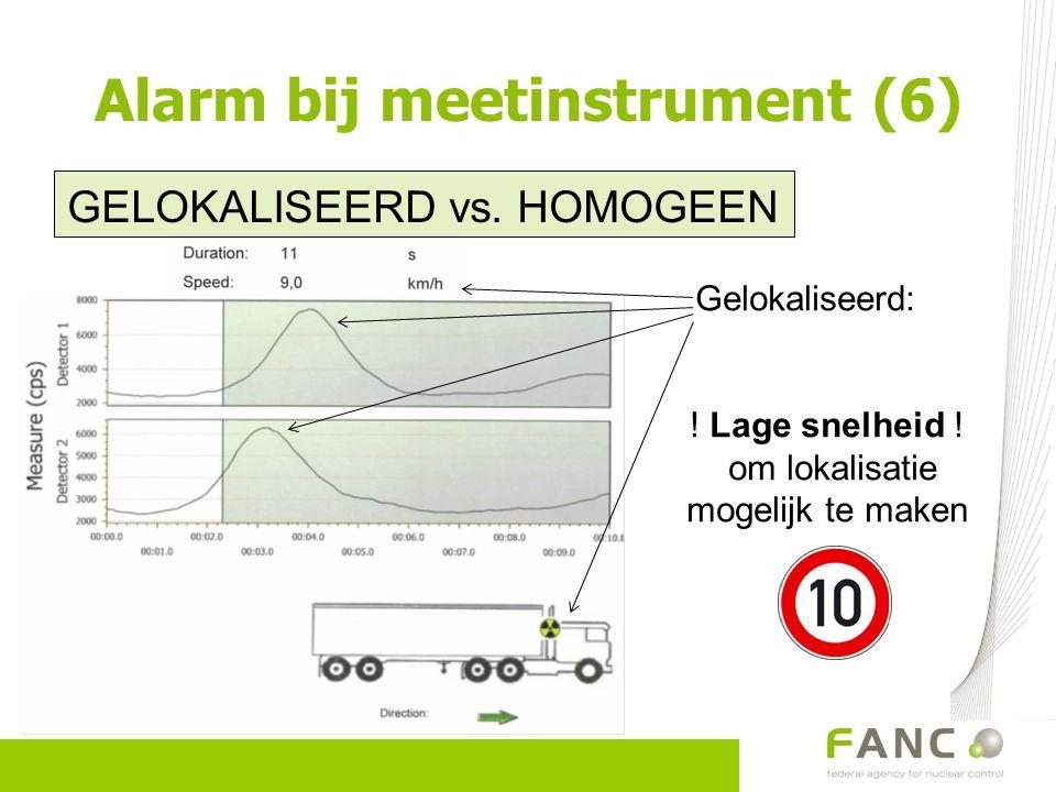 Alarm bij meetinstrument (6) GELOKALISEERD vs. HOMOGEEN Gelokaliseerd: ! Lage snelheid ! om lokalisatie mogelijk te maken