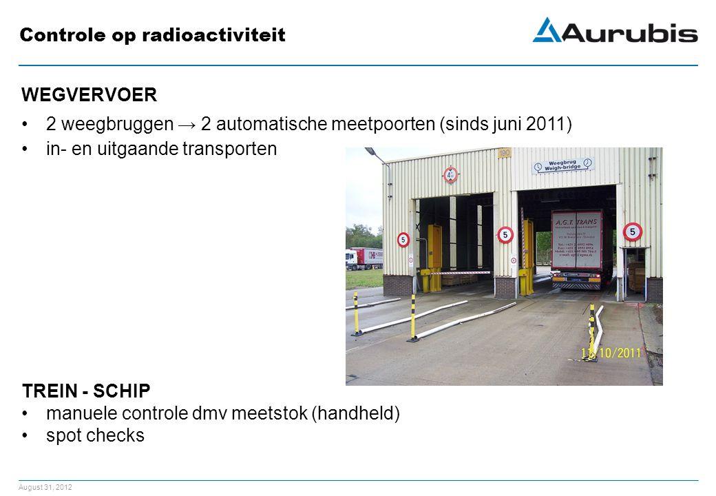 August 31, 2012 Controle op radioactiviteit WEGVERVOER 2 weegbruggen → 2 automatische meetpoorten (sinds juni 2011) in- en uitgaande transporten TREIN - SCHIP manuele controle dmv meetstok (handheld) spot checks