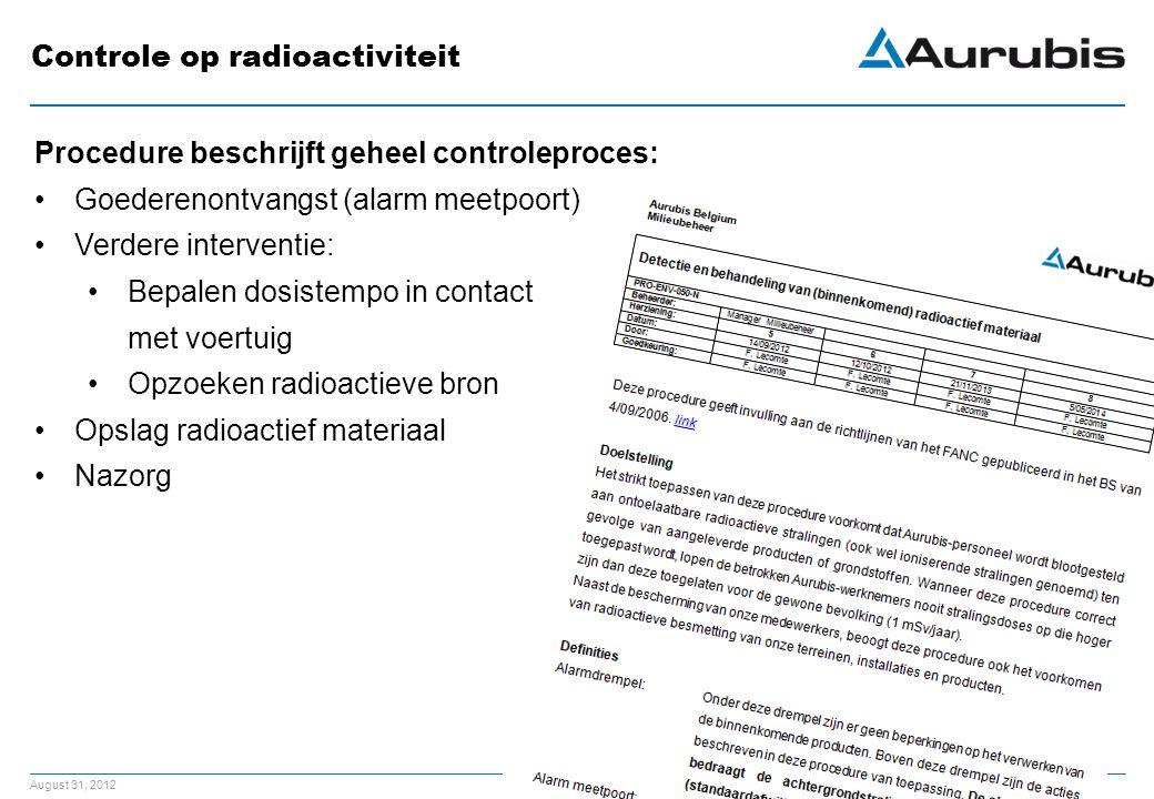 August 31, 2012 Controle op radioactiviteit Procedure beschrijft geheel controleproces: Goederenontvangst (alarm meetpoort) Verdere interventie: Bepalen dosistempo in contact met voertuig Opzoeken radioactieve bron Opslag radioactief materiaal Nazorg