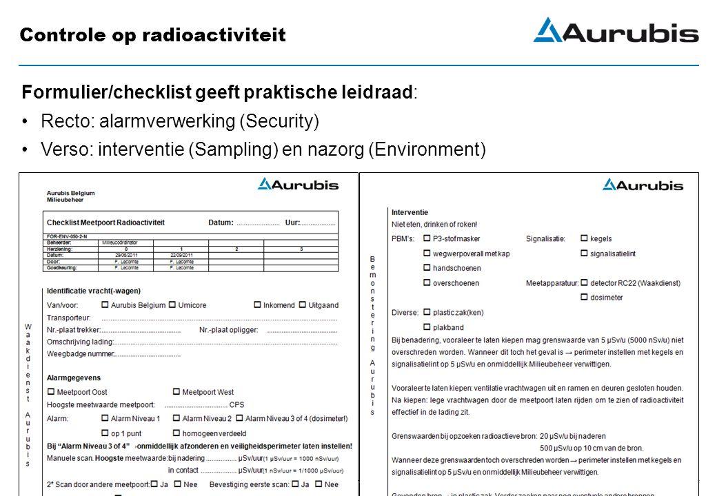 August 31, 2012 Controle op radioactiviteit Formulier/checklist geeft praktische leidraad: Recto: alarmverwerking (Security) Verso: interventie (Sampling) en nazorg (Environment)