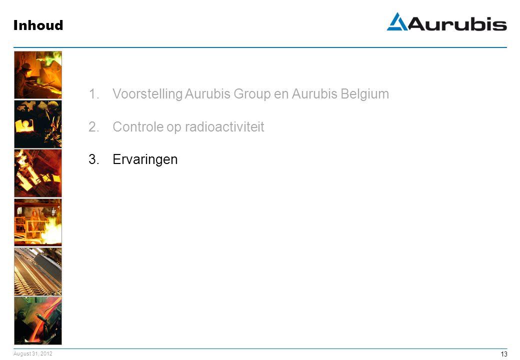 August 31, 2012 13 1.Voorstelling Aurubis Group en Aurubis Belgium 2.Controle op radioactiviteit 3.Ervaringen Inhoud