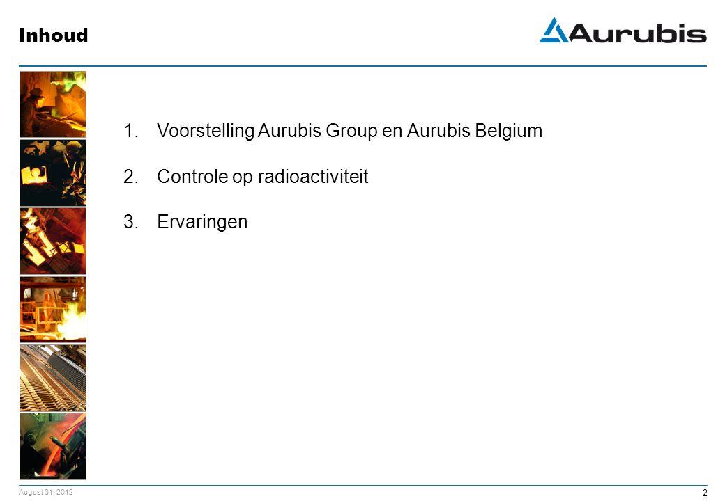 August 31, 2012 2 1.Voorstelling Aurubis Group en Aurubis Belgium 2.Controle op radioactiviteit 3.Ervaringen Inhoud