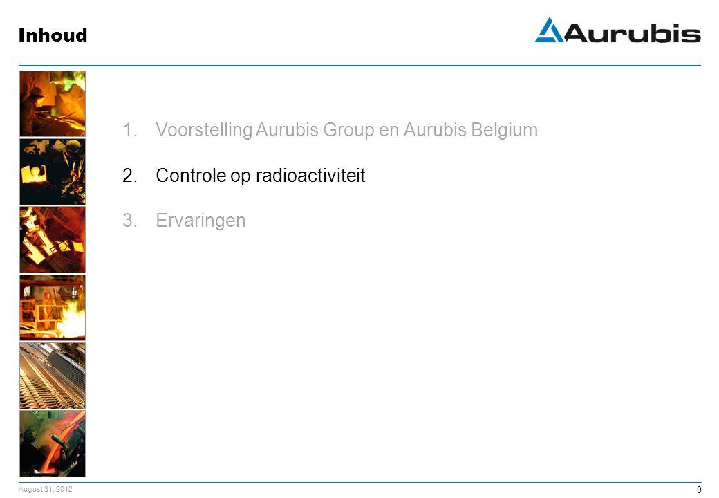 August 31, 2012 9 1.Voorstelling Aurubis Group en Aurubis Belgium 2.Controle op radioactiviteit 3.Ervaringen Inhoud