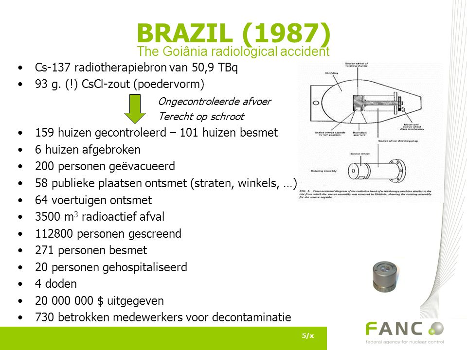 Cs-137 radiotherapiebron van 50,9 TBq 93 g.