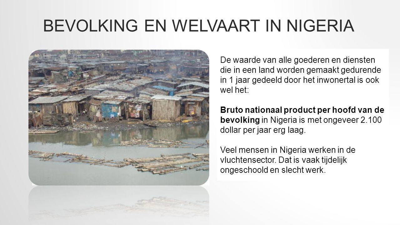 BEVOLKING EN WELVAART IN NIGERIA Nigeria bestaat uit 155 miljoen mensen. Er zijn 15 verschillende culturen en 500 talen. In het noorden wonen veel mos