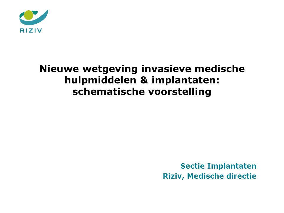 Nieuwe wetgeving invasieve medische hulpmiddelen & implantaten: schematische voorstelling Sectie Implantaten Riziv, Medische directie