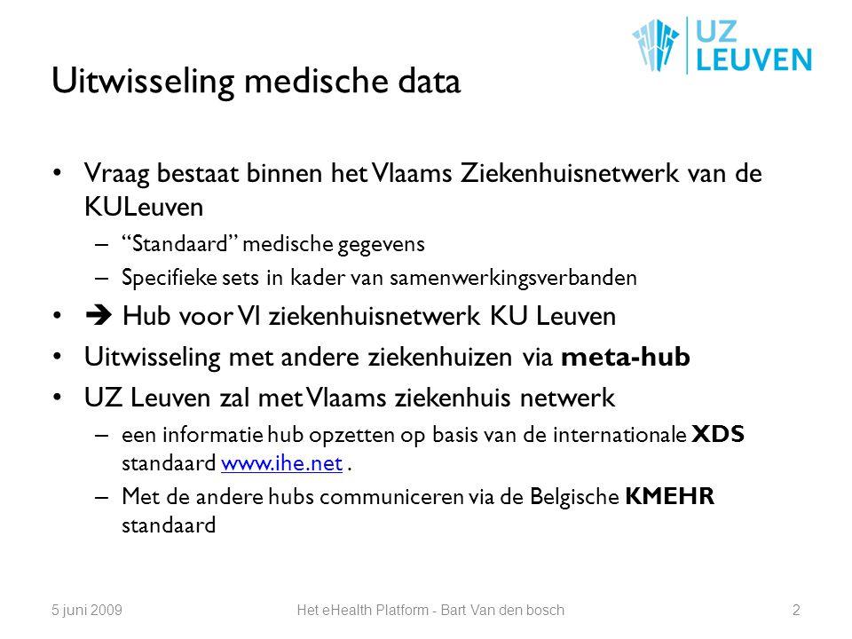Uitwisseling medische data 35 juni 2009Het eHealth Platform - Bart Van den bosch