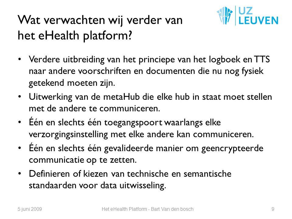 Wat verwachten wij verder van het eHealth platform? Verdere uitbreiding van het princiepe van het logboek en TTS naar andere voorschriften en document