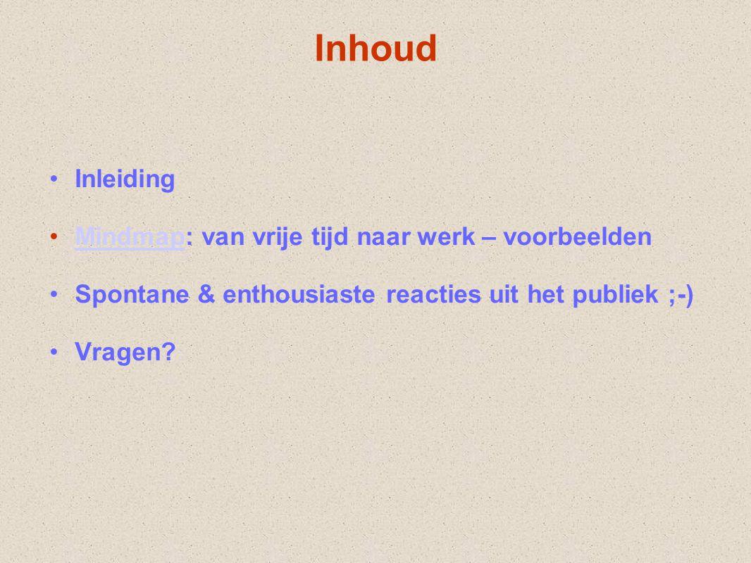Inhoud Inleiding Mindmap: van vrije tijd naar werk – voorbeeldenMindmap Spontane & enthousiaste reacties uit het publiek ;-) Vragen?