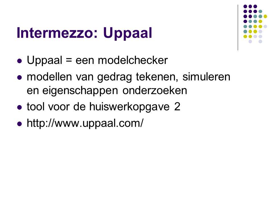 Intermezzo: Uppaal Uppaal = een modelchecker modellen van gedrag tekenen, simuleren en eigenschappen onderzoeken tool voor de huiswerkopgave 2 http://