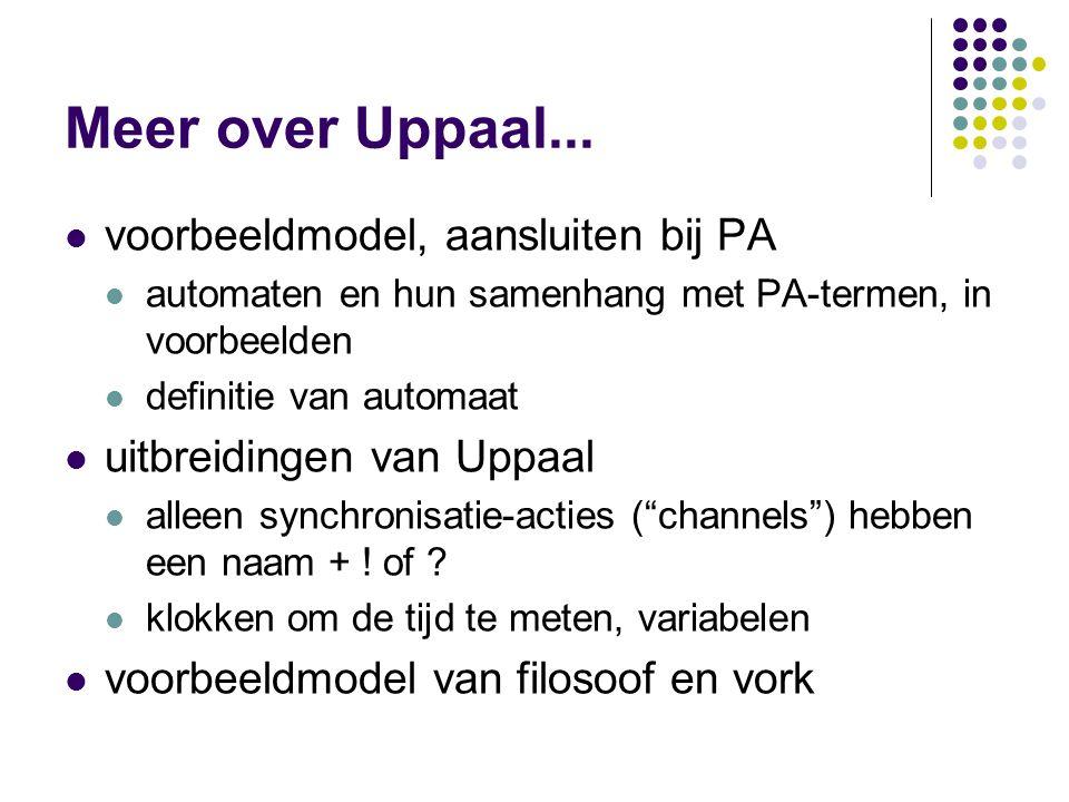 Meer over Uppaal... voorbeeldmodel, aansluiten bij PA automaten en hun samenhang met PA-termen, in voorbeelden definitie van automaat uitbreidingen va