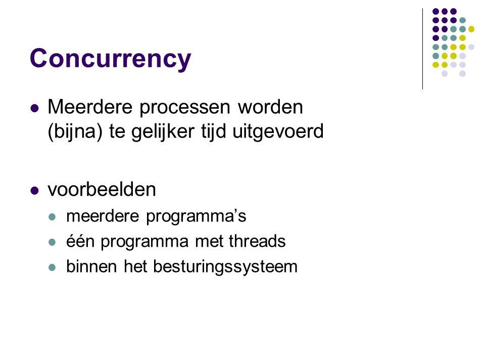 Concurrency Meerdere processen worden (bijna) te gelijker tijd uitgevoerd voorbeelden meerdere programma's één programma met threads binnen het bestur