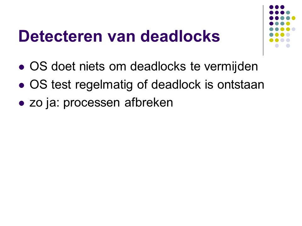 Detecteren van deadlocks OS doet niets om deadlocks te vermijden OS test regelmatig of deadlock is ontstaan zo ja: processen afbreken