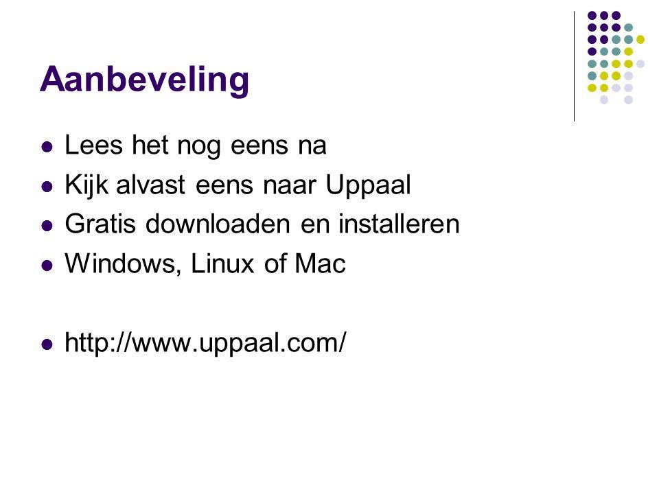 Aanbeveling Lees het nog eens na Kijk alvast eens naar Uppaal Gratis downloaden en installeren Windows, Linux of Mac http://www.uppaal.com/
