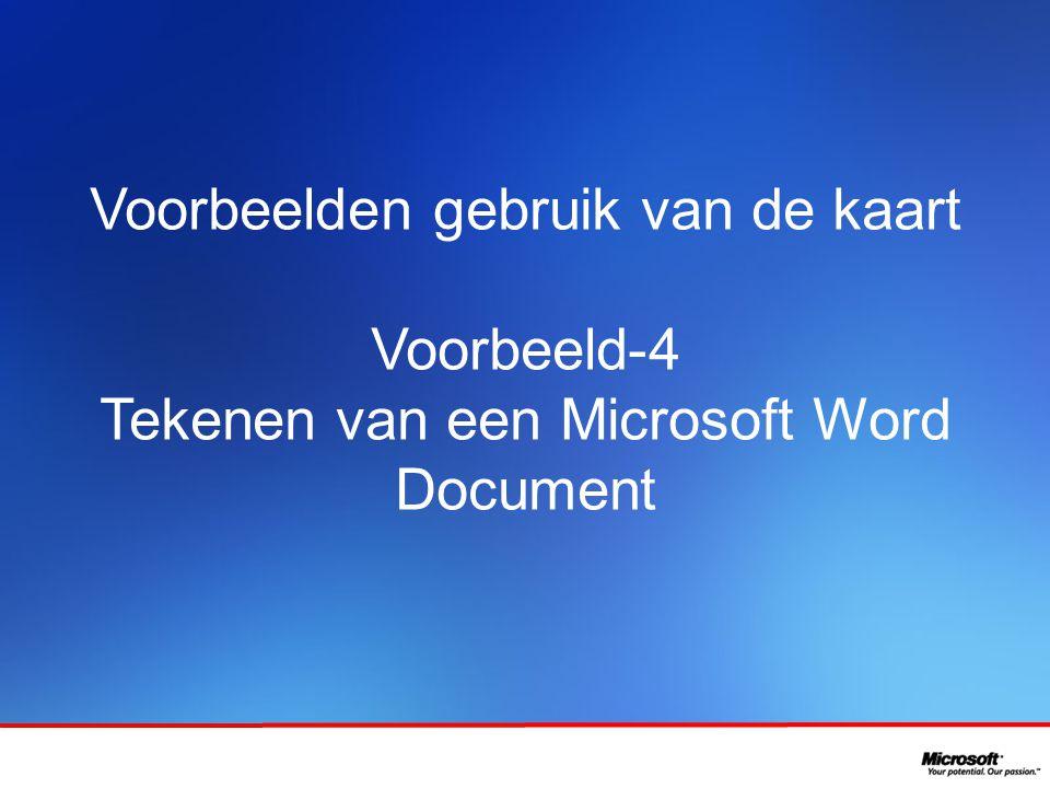 Voorbeelden gebruik van de kaart Voorbeeld-4 Tekenen van een Microsoft Word Document