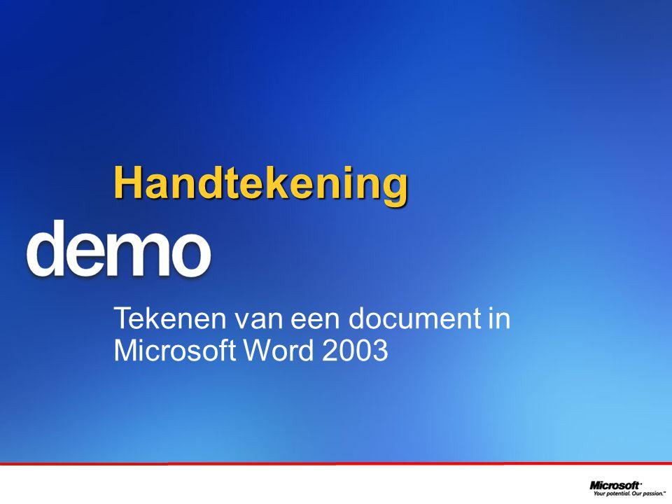 In samenwerking met Handtekening Tekenen van een document in Microsoft Word 2003