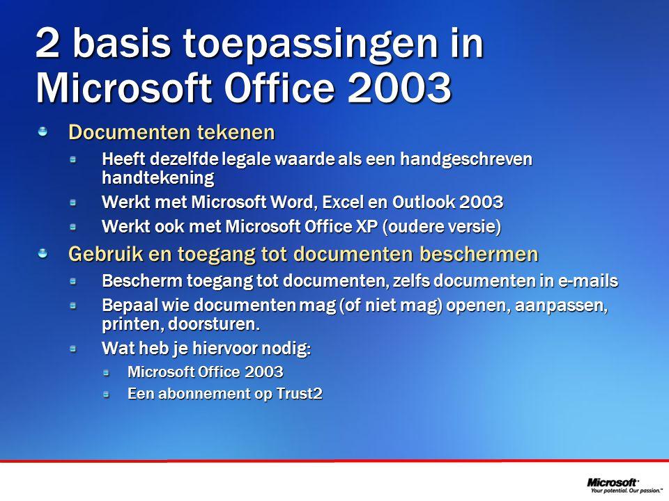 In samenwerking met 2 basis toepassingen in Microsoft Office 2003 Documenten tekenen Heeft dezelfde legale waarde als een handgeschreven handtekening
